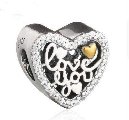 Charm I Love You Prata925 E Banho De Ouro14k