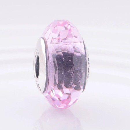 Charm Murano Facetado Rosa Em Prata925