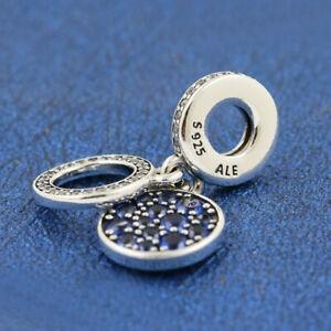Charm Pendente Duplo Azul Cintilante prata925