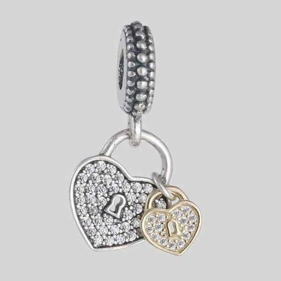 Charm Pendente Love Locks Prata925 E Banho Ouro14k