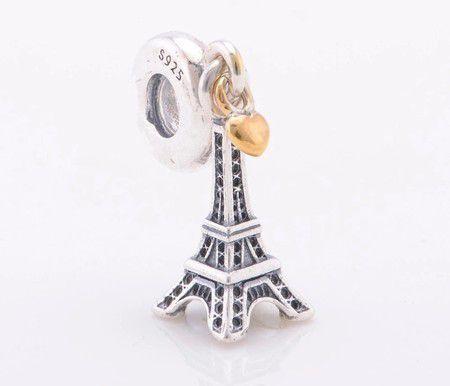 Charm Pendente Torre Eiffel Prata Banho de Ouro 14k