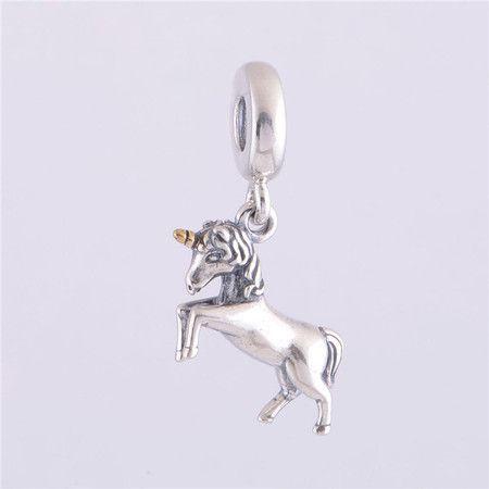 Charm Pendente Unicornio Prata925 Com Ouro 14k (Cód 073)