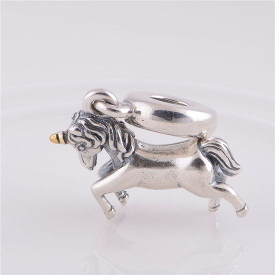 Charm Pendente Unicornio Prata925 Com Ouro 14k