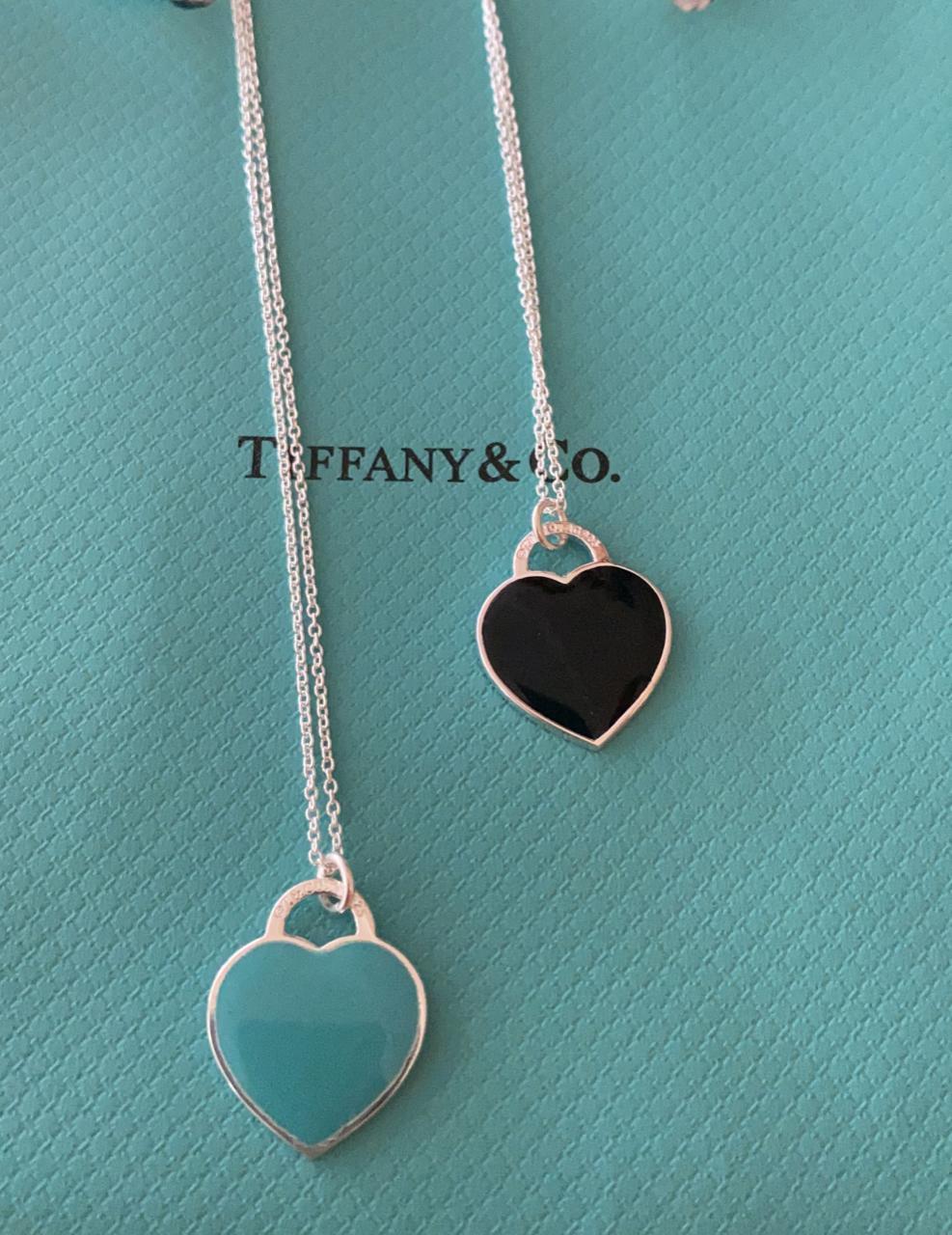 Colar Tiffa Coração Grande Azul Prata925