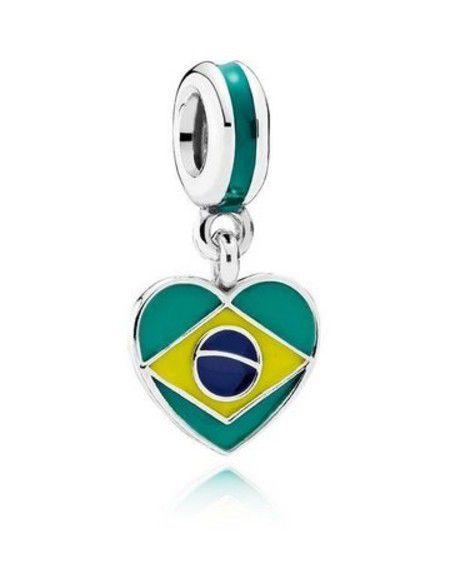 Encomende Com 12% Off!!! Charm Coração Bandeira Prata925 (Cód 1189)
