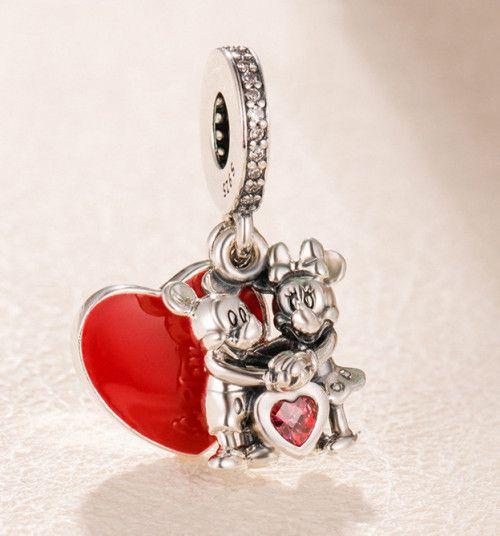 Pendente I Love Minnie e Mickey Prata925