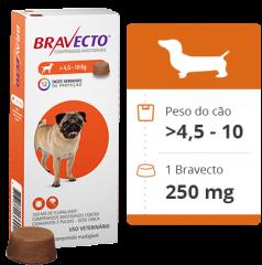 Antipulgas e Carrapatos MSD Bravecto 250 mg para Cães de 4,5 a 10 Kg