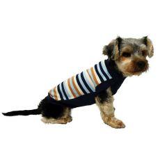 Blusa Futon Dog Tricot Tradicional Listrada Azul