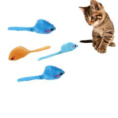 kit 4 Ratinhos Peludinhos Sonoros Brinquedo para Gatos