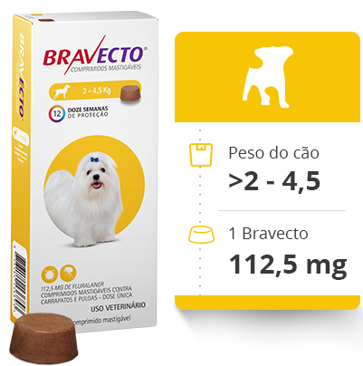 Antipulgas Bravecto Oral 112,5 mg para Cães até 4,5 kg