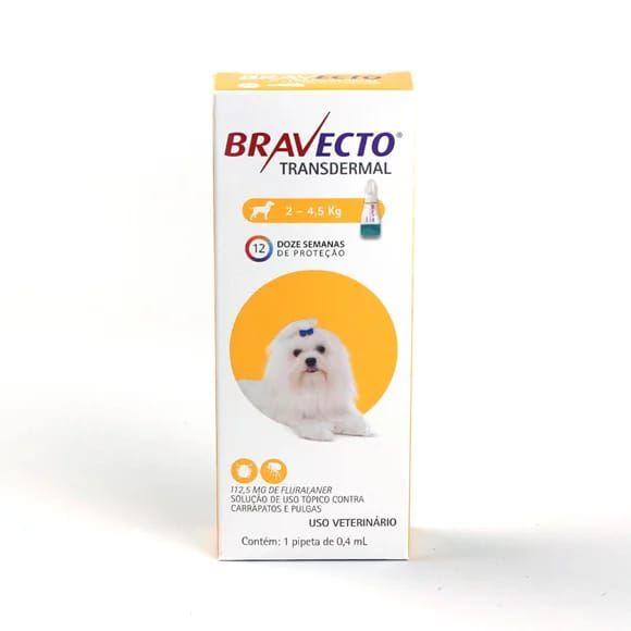 Antipulgas Bravecto Transdermal 112,5 mg para Cães 2 a 4,5 kg
