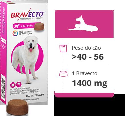 Antipulgas e Carrapatos MSD Bravecto 1400 mg para Cães de 40 a 56 Kg
