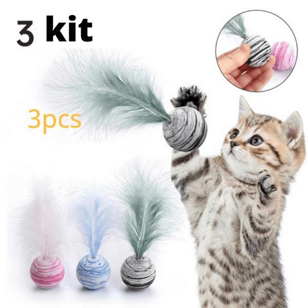 Brinquedo Bola Estrela com Pena para Gatos