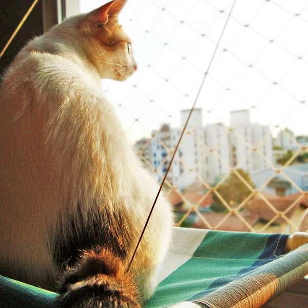 Cama Gatton Catbed Listrada Azul para Gatos