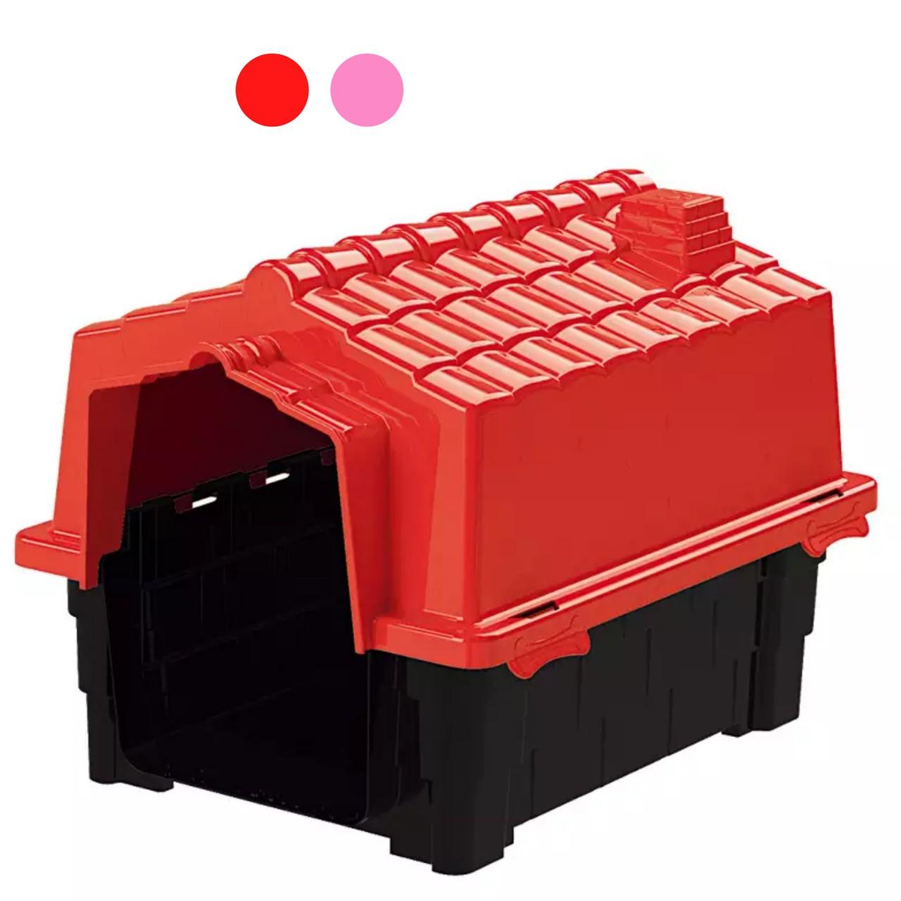 Casa Pet Injet Prime Colors Dog House Evolution Rosa ou Vermelha