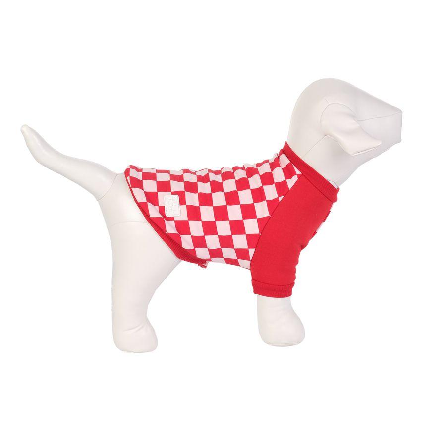 Casaco de Moletom para Cães Xadrez Rosa e Vermelho Urban Puppy