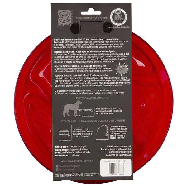 Comedouro Buddy Vermelho para Cães de Todos os Portes