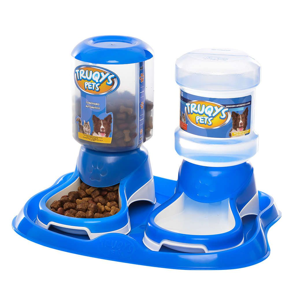 Kit Truqys Pets Automático Bandeja + Comedouro + Bebedouro Azul