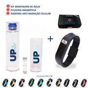 Kit UP Water Imantador de Água Portátil Therapy+ Pulseira Magnética Com Infravermelho Upower - Therapy + Adesivo RADIFREE combate a poluição eletrônica Therapy