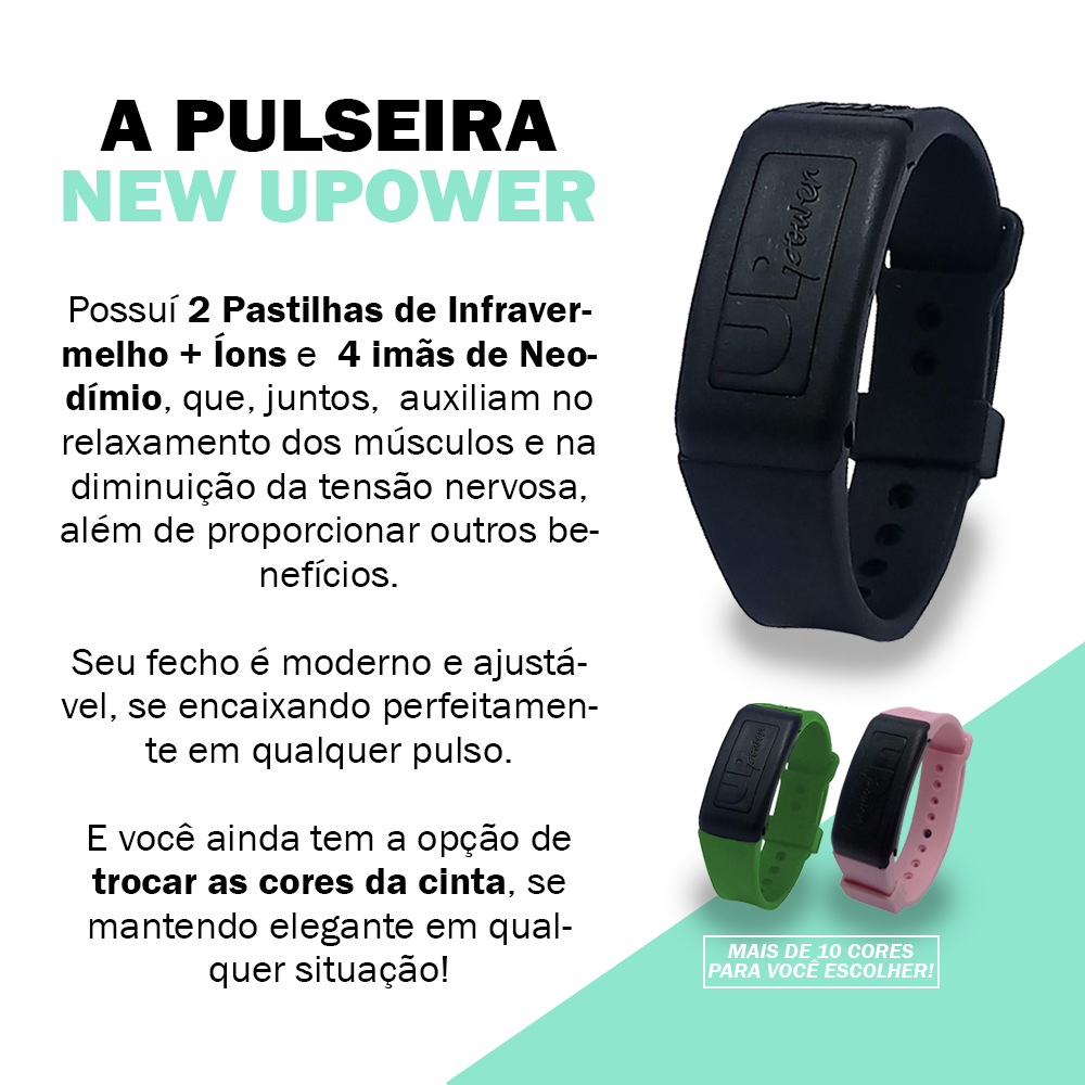 Pulseira Magnética New Up Power com 4 Imãs Neodímio + Infravermelho + Íons - THERAPY