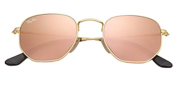 ... Ray Ban Hexagonal Flat RB 3548-NL 001 Z2 - Dourado Rosa Espelhado e430d059ad