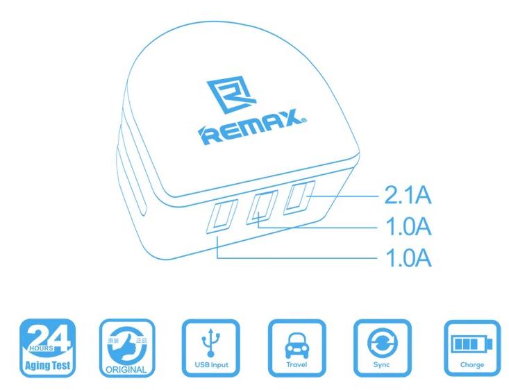 Plug de tomada Remax 3.0A Charger 3USB