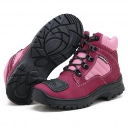 Bota adventure trekking e motociclismo em couro legíitmo na cor rosa 245