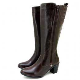 Bota feminina cano alto montaria em couro legítimo na cor café super confortável e estilosa 9208 - OUTLET