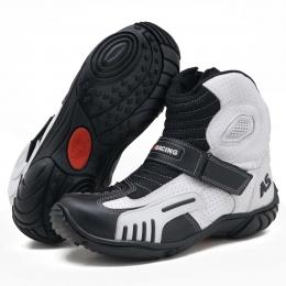 """Bota motociclista AS-RACING em couro legítimo """"vented boots"""" nas cores preto e branco 406"""