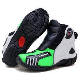 Bota motociclista Atron Shoes AS-HIGHWAY em couro legítimo semi-impermeável emborrachada Com elástico na cor Verde Limão 408