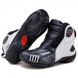 Bota motociclista Atron Shoes AS-HIGHWAY em couro legítimo semi-impermeável emborrachada Com elástico na cor Cinza Camuflado 408