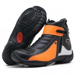 Bota motociclista Atron Shoes em couro legítimo nas cores preto laranja e branco 271