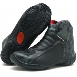 Bota motociclista atron shoes semi impermeável em couro legítimo camuflado cinza 305
