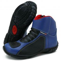 Bota motociclista azul Lançamento semi impermeável de couro legítimo 305
