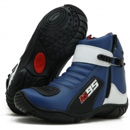 Bota motociclista Couro Legítimo Nas Cores Azul com Branco AS95