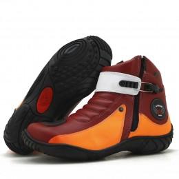Bota motociclista de couro legítimo nas cores vermelho e laranja 271