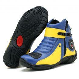 Bota motociclista em couro legítimo nas cores azul e amarela 271