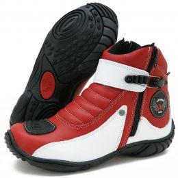 Bota para motociclista em couro 271 nas cores vermelho e branco