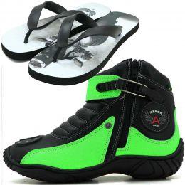 Bota preta e verde motociclista em couro legítimo 271 com chinelo estampado Atron Shoes