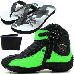 Bota preta e verde motociclista em couro legítimo 271 com chinelo estampado Atron Shoes - GRATIS UMA CARTEIRA