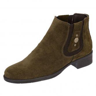 Botina Chelsea Boots Feminina Legitimo 2464 Couro Camurça Verde Musgo