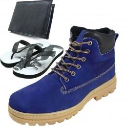 Coturno Adventure Azul em Couro legítimo para trilha kit chinelo e carteira de brinde 256