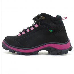 Coturno Adventure para trilha Atron Shoes 019 em couro legítimo preto