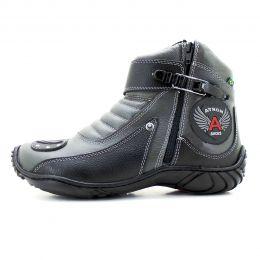 Coturno motociclista Atron Shoes em couro legítimo 271 personalizado cinza e preto