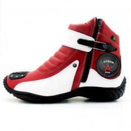 Coturno motociclista em couro legítimo 271 personalizado vermelho e branco