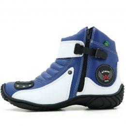 dbc36e9af715b Coturno motociclista em couro legítimo Atron Shoes 271 nas cores azul e  branco
