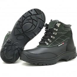 Coturno para trilha em couro legítimo na cor preta e verde 246