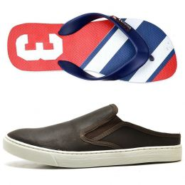 Kit chinelo e Mule Slip On masculino na cor café