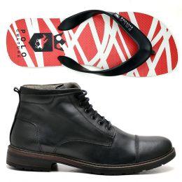 Kit chinelo e sapatênis casual estilo coturno em couro SN-170