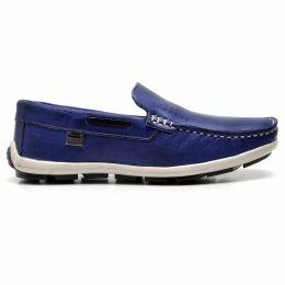 Mocassim azul infantil em couro legítimo Atron Shoes